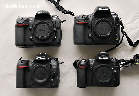 The four contestants: Top D300 and D700, bottom D7000 and D90. Notice the size differences